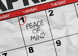 Concept image of a Calendar with the text: Peace of Mind